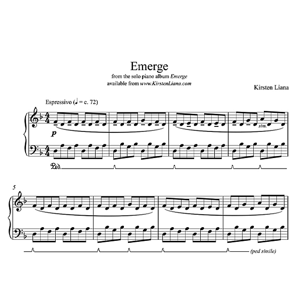 Emerge Piano Sheet Music